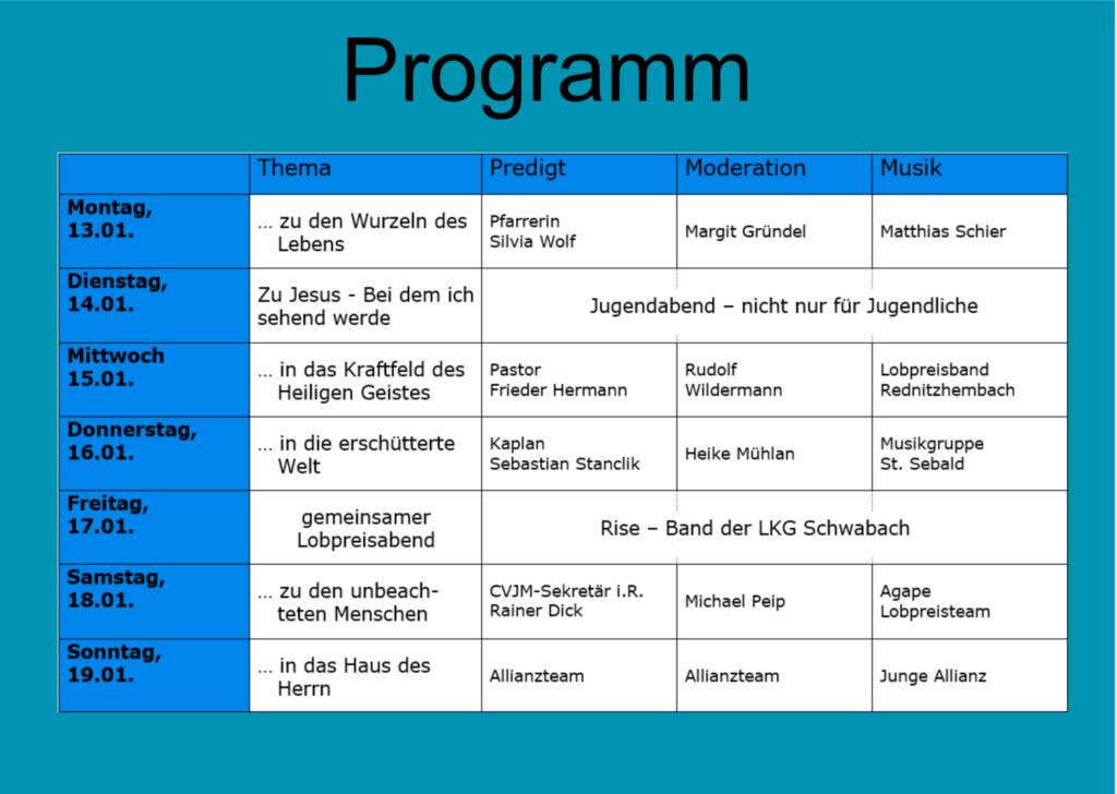 Programm der Allianzgebetswoche 2020 in Schwabach